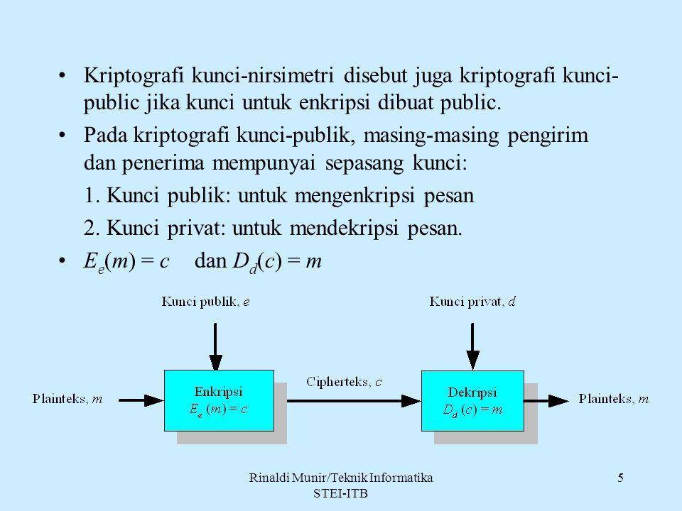 Rinaldi Munir/Teknik Informatika STEI-ITB 26 4.Karena kunci publik diketahui secara luas dan dapat digunakan setiap orang, maka cipherteks tidak memberikan informasi mengenai otentikasi pengirim.