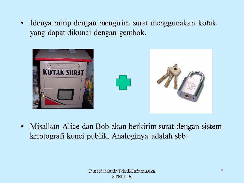 Idenya mirip dengan mengirim surat menggunakan kotak yang dapat dikunci dengan gembok. Misalkan Alice dan Bob akan berkirim surat dengan sistem kripto