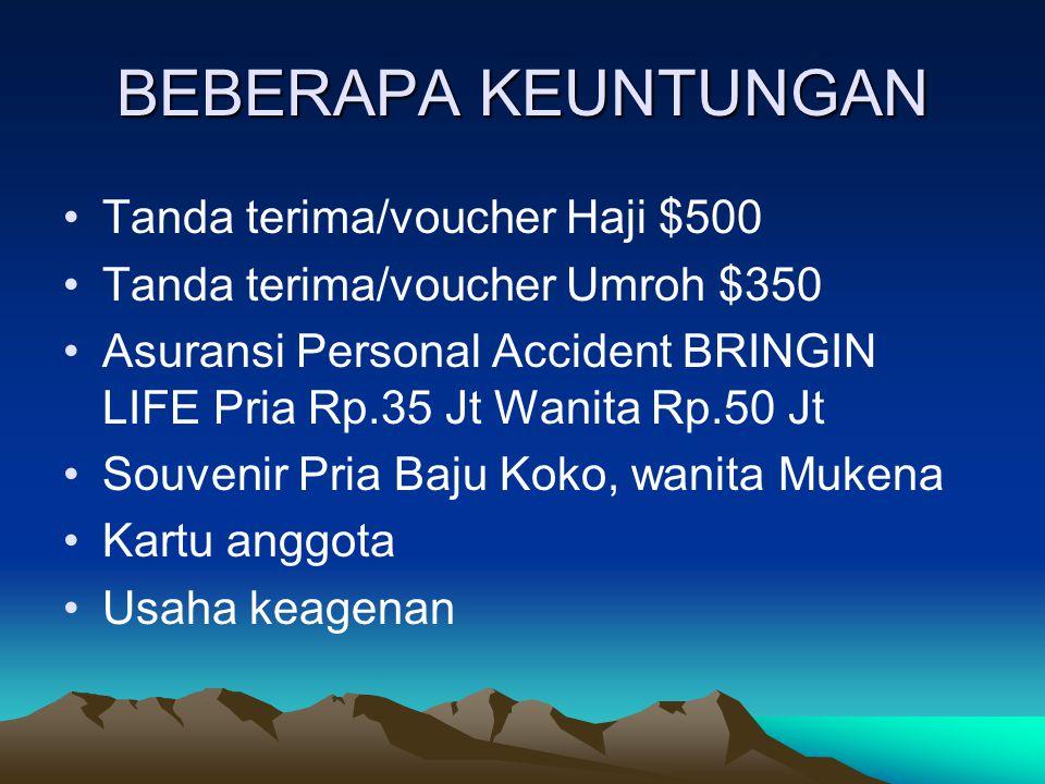 BEBERAPA KEUNTUNGAN Tanda terima/voucher Haji $500 Tanda terima/voucher Umroh $350 Asuransi Personal Accident BRINGIN LIFE Pria Rp.35 Jt Wanita Rp.50