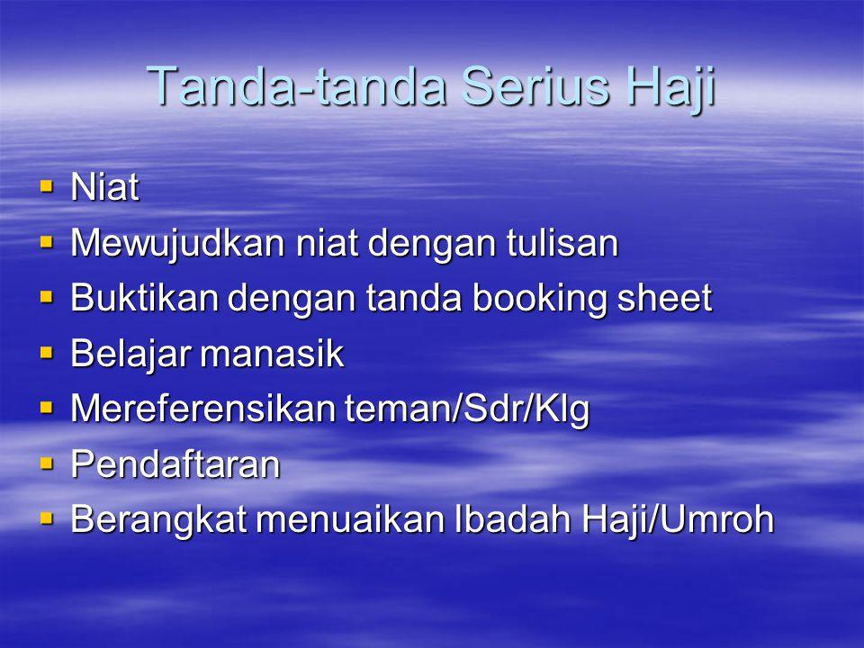 Tanda-tanda Serius Haji  Niat  Mewujudkan niat dengan tulisan  Buktikan dengan tanda booking sheet  Belajar manasik  Mereferensikan teman/Sdr/Klg