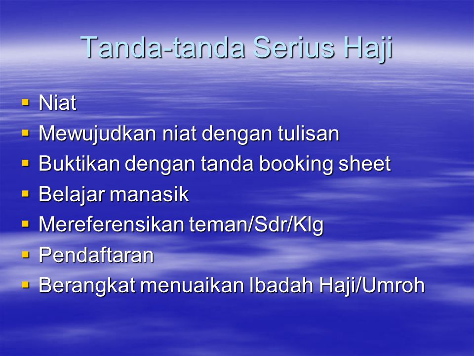 Berpengalaman 19 tahun sbg penyelenggara Umroh/Haji Berpengalaman 19 tahun sbg penyelenggara Umroh/Haji Dipimpin oleh seorang yang komitment tinggi Dipimpin oleh seorang yang komitment tinggi Sudah dikenal sebagai biro perjalanan umroh/haji baik di Indonesia maupun di Arab Saudi dengan reputasi memuaskan.