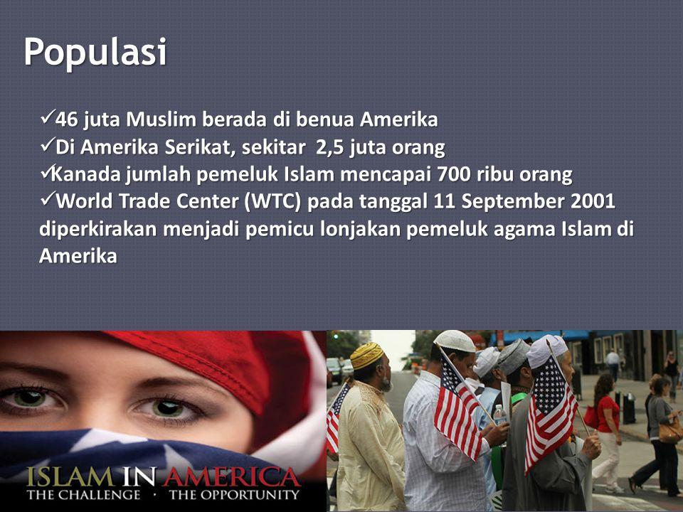 Populasi 46 juta Muslim berada di benua Amerika 46 juta Muslim berada di benua Amerika Di Amerika Serikat, sekitar 2,5 juta orang Di Amerika Serikat, sekitar 2,5 juta orang Kanada jumlah pemeluk Islam mencapai 700 ribu orang Kanada jumlah pemeluk Islam mencapai 700 ribu orang World Trade Center (WTC) pada tanggal 11 September 2001 diperkirakan menjadi pemicu lonjakan pemeluk agama Islam di Amerika World Trade Center (WTC) pada tanggal 11 September 2001 diperkirakan menjadi pemicu lonjakan pemeluk agama Islam di Amerika