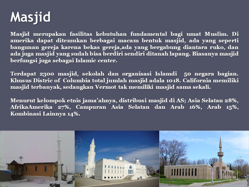Masjid Masjid merupakan fasilitas kebutuhan fundamental bagi umat Muslim. Di amerika dapat ditemukan berbagai macam bentuk masjid, ada yang seperti ba