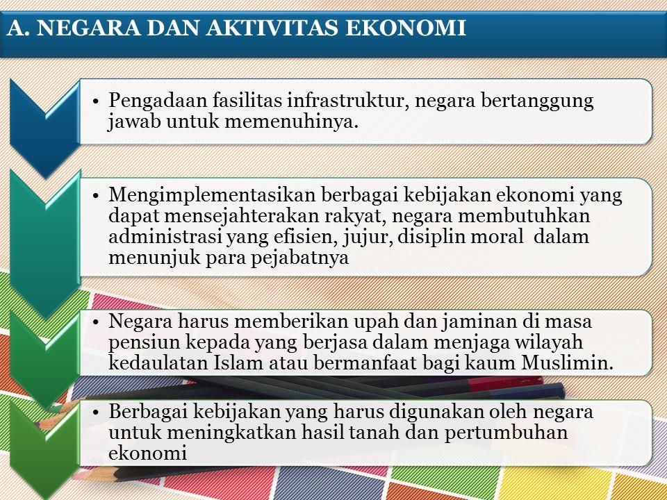 A. NEGARA DAN AKTIVITAS EKONOMI Pengadaan fasilitas infrastruktur, negara bertanggung jawab untuk memenuhinya. Mengimplementasikan berbagai kebijakan