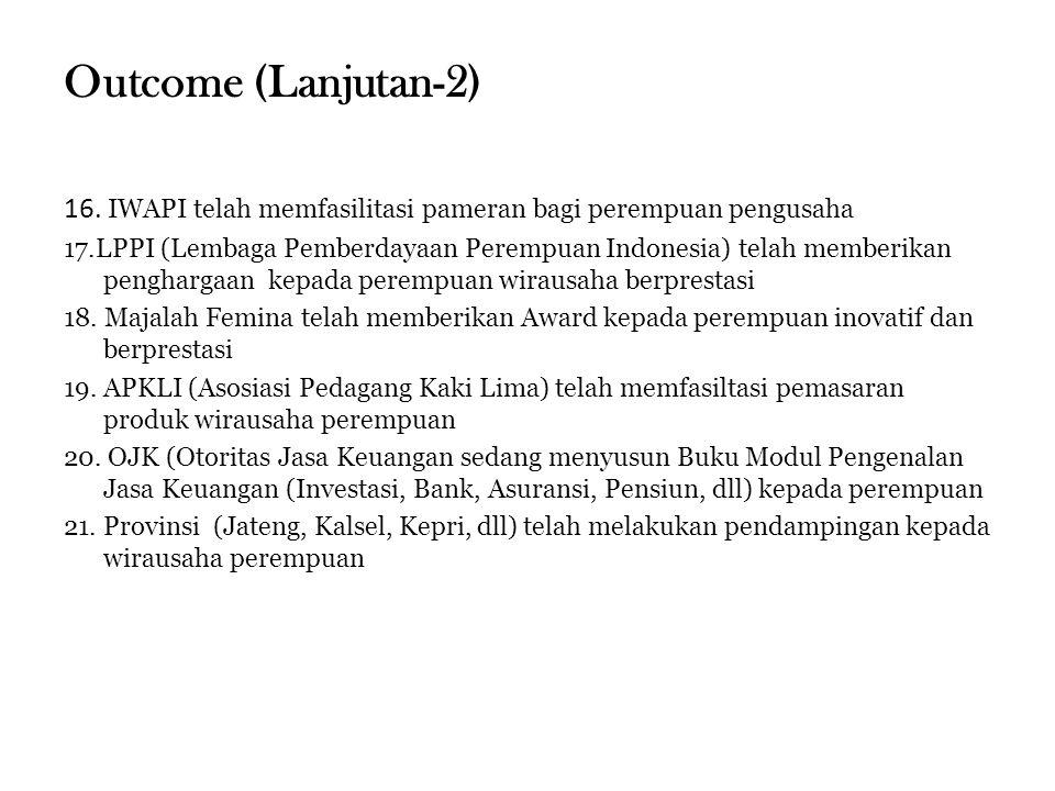 Outcome (Lanjutan-2) 16. IWAPI telah memfasilitasi pameran bagi perempuan pengusaha 17.LPPI (Lembaga Pemberdayaan Perempuan Indonesia) telah memberika