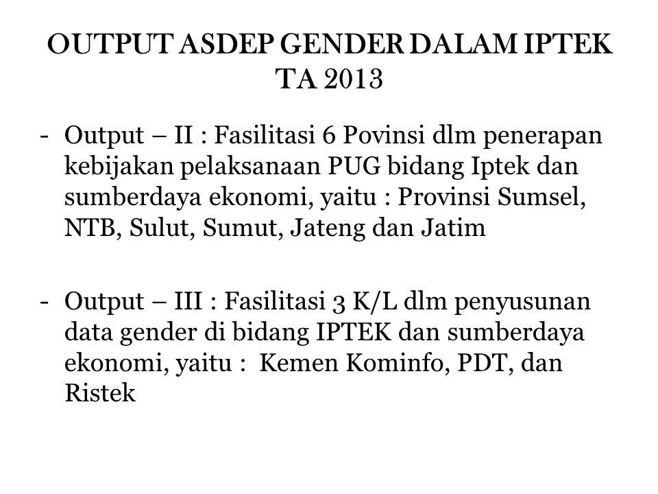 OUTPUT ASDEP GENDER DALAM IPTEK TA 2013 -Output – II : Fasilitasi 6 Povinsi dlm penerapan kebijakan pelaksanaan PUG bidang Iptek dan sumberdaya ekonom