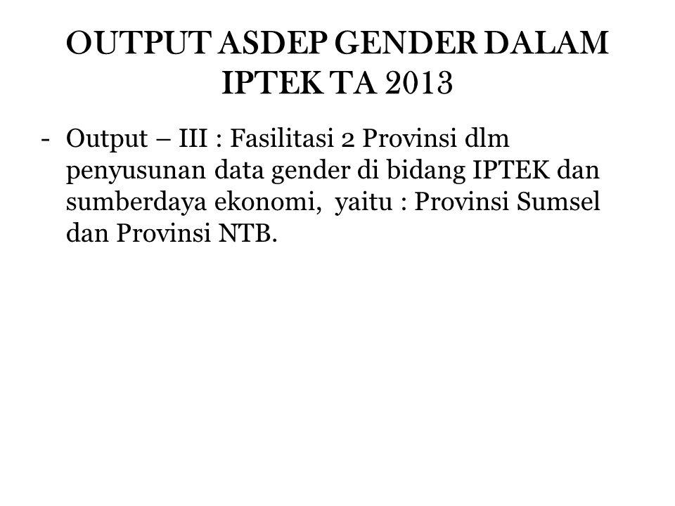 OUTPUT ASDEP GENDER DALAM IPTEK TA 2013 -Output – III : Fasilitasi 2 Provinsi dlm penyusunan data gender di bidang IPTEK dan sumberdaya ekonomi, yaitu : Provinsi Sumsel dan Provinsi NTB.