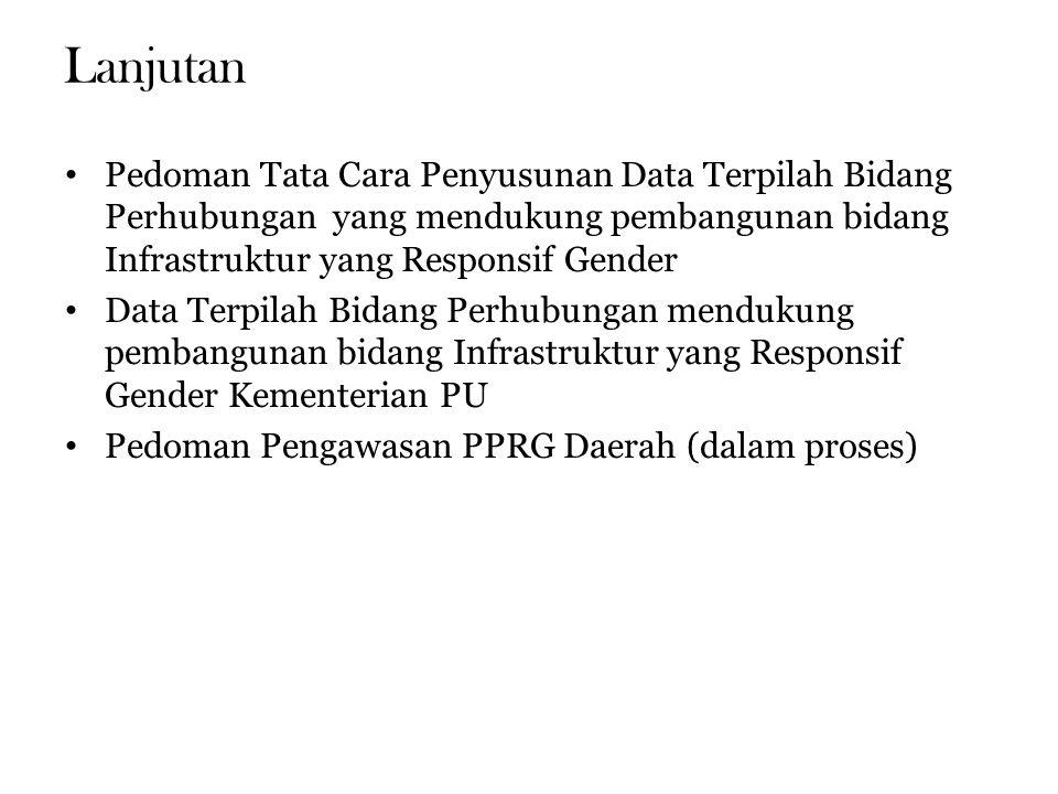 Lanjutan Pedoman Tata Cara Penyusunan Data Terpilah Bidang Perhubungan yang mendukung pembangunan bidang Infrastruktur yang Responsif Gender Data Terpilah Bidang Perhubungan mendukung pembangunan bidang Infrastruktur yang Responsif Gender Kementerian PU Pedoman Pengawasan PPRG Daerah (dalam proses)