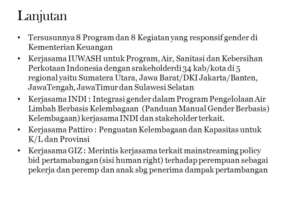 Lanjutan Tersusunnya 8 Program dan 8 Kegiatan yang responsif gender di Kementerian Keuangan Kerjasama IUWASH untuk Program, Air, Sanitasi dan Kebersihan Perkotaan Indonesia dengan srakeholderdi 34 kab/kota di 5 regional yaitu Sumatera Utara, Jawa Barat/DKI Jakarta/Banten, JawaTengah, JawaTimur dan Sulawesi Selatan Kerjasama INDI : Integrasi gender dalam Program Pengelolaan Air Limbah Berbasis Kelembagaan (Panduan Manual Gender Berbasis) Kelembagaan) kerjasama INDI dan stakeholder terkait.