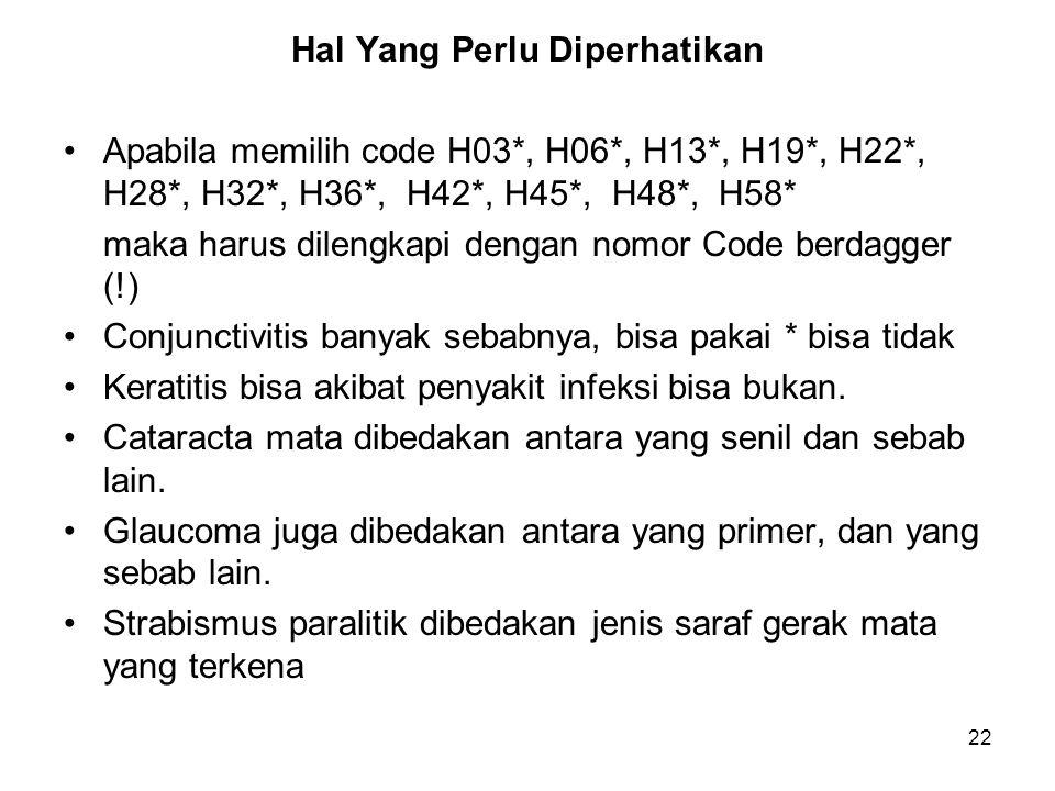 22 Hal Yang Perlu Diperhatikan Apabila memilih code H03*, H06*, H13*, H19*, H22*, H28*, H32*, H36*, H42*, H45*, H48*, H58* maka harus dilengkapi denga