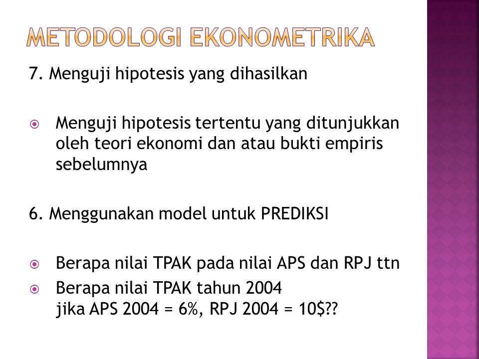 7. Menguji hipotesis yang dihasilkan  Menguji hipotesis tertentu yang ditunjukkan oleh teori ekonomi dan atau bukti empiris sebelumnya 6. Menggunakan