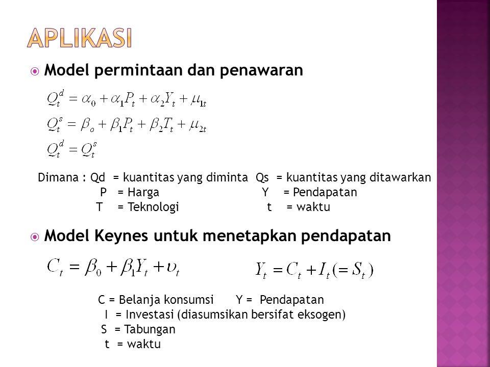  Model permintaan dan penawaran  Model Keynes untuk menetapkan pendapatan Dimana : Qd = kuantitas yang diminta Qs = kuantitas yang ditawarkan P = Harga Y = Pendapatan T = Teknologi t = waktu C = Belanja konsumsi Y = Pendapatan I = Investasi (diasumsikan bersifat eksogen) S = Tabungan t = waktu