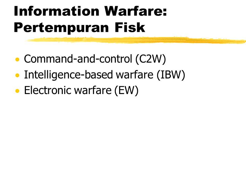 Jenis Information Warfare Penunjang Pertempuran Fisik  Command-and-control (C2W)  Intelligence-based warfare (IBW)  Electronic warfare (EW) Perjuangan Sipil  psychological warfare (PSYW)  hacker warfare  economic information warfare (EIW)  cyberwarfare.