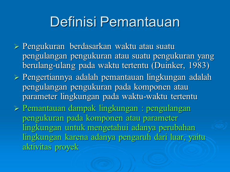 Definisi Pemantauan  Pengukuran berdasarkan waktu atau suatu pengulangan pengukuran atau suatu pengukuran yang berulang-ulang pada waktu tertentu (Du