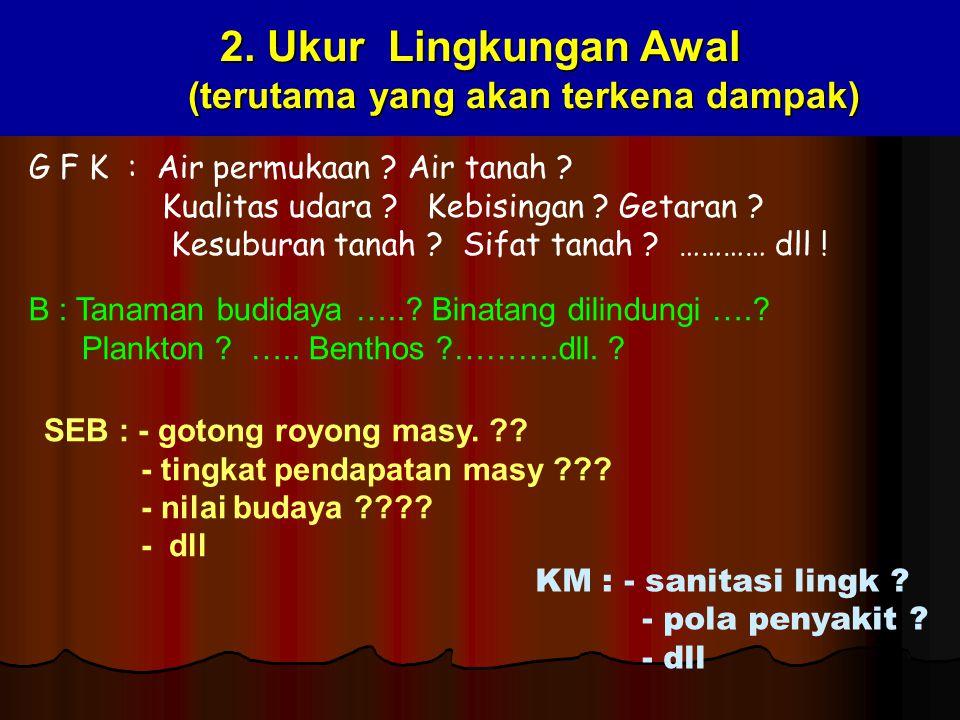 2. Ukur Lingkungan Awal (terutama yang akan terkena dampak) G F K : Air permukaan ? Air tanah ? Kualitas udara ? Kebisingan ? Getaran ? Kesuburan tana