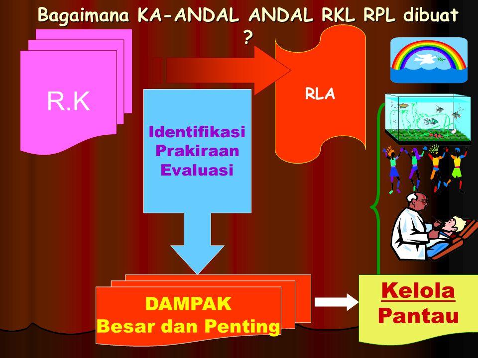 Bagaimana KA-ANDAL ANDAL RKL RPL dibuat ? R.K RLA Identifikasi Prakiraan Evaluasi DAMPAK Besar dan Penting Kelola Pantau