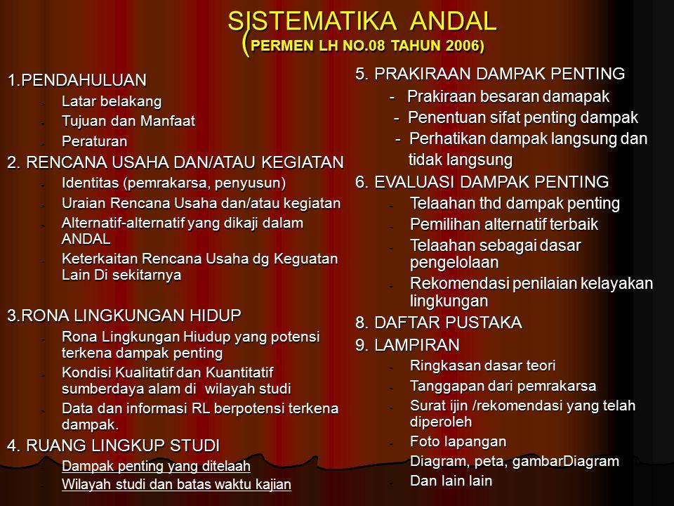 SISTEMATIKA ANDAL ( PERMEN LH NO.08 TAHUN 2006) 1.PENDAHULUAN - Latar belakang - Tujuan dan Manfaat - Peraturan 2.