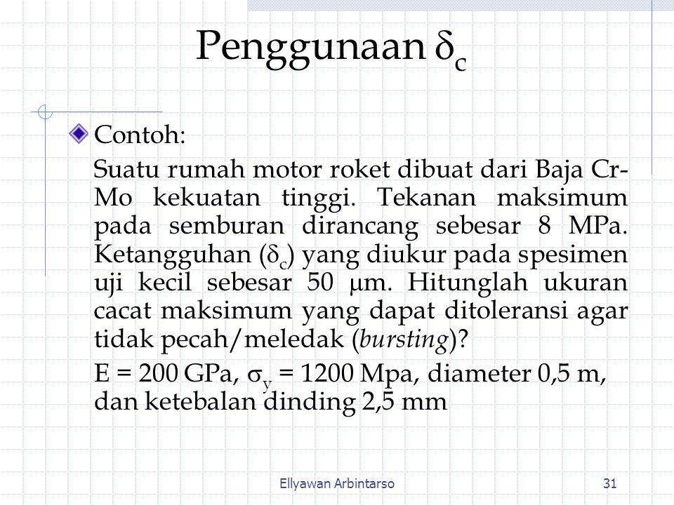 Ellyawan Arbintarso31 Penggunaan  c Contoh: Suatu rumah motor roket dibuat dari Baja Cr- Mo kekuatan tinggi. Tekanan maksimum pada semburan dirancang