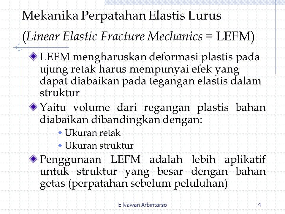 Ellyawan Arbintarso4 Mekanika Perpatahan Elastis Lurus ( Linear Elastic Fracture Mechanics = LEFM) LEFM mengharuskan deformasi plastis pada ujung retak harus mempunyai efek yang dapat diabaikan pada tegangan elastis dalam struktur Yaitu volume dari regangan plastis bahan diabaikan dibandingkan dengan:  Ukuran retak  Ukuran struktur Penggunaan LEFM adalah lebih aplikatif untuk struktur yang besar dengan bahan getas (perpatahan sebelum peluluhan)
