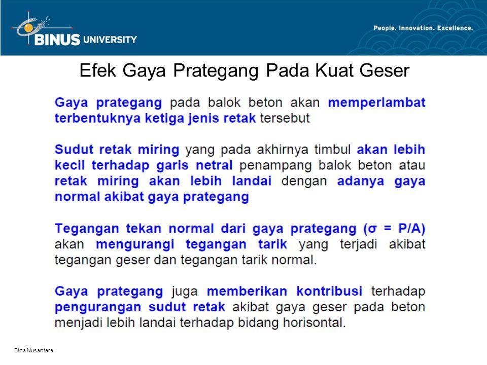 Bina Nusantara Efek Gaya Prategang Pada Kuat Geser