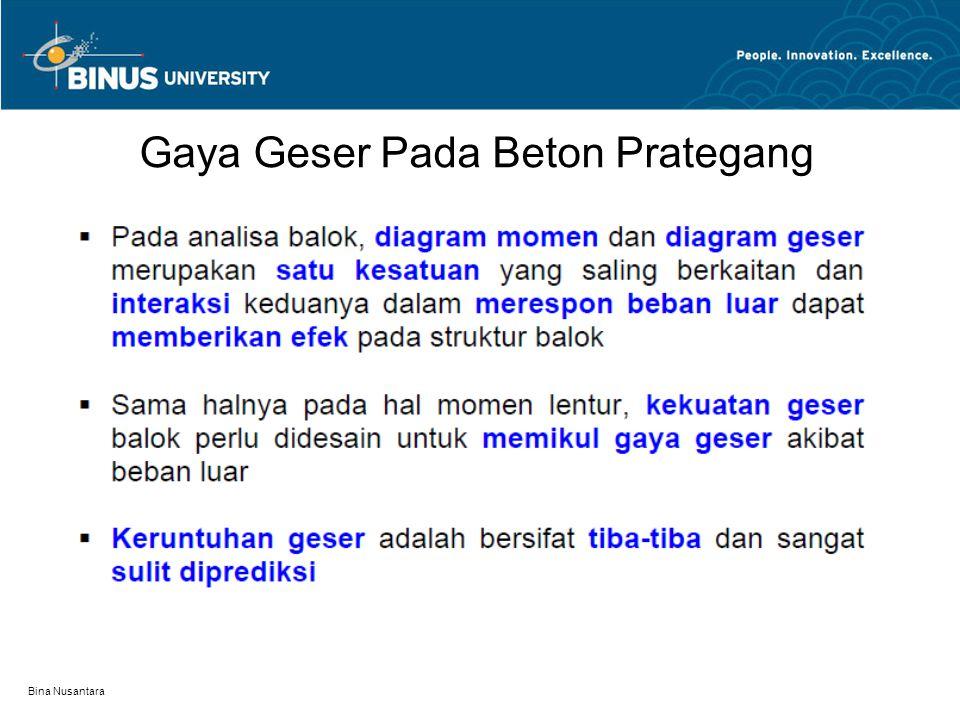 Bina Nusantara Kekuatan Geser Penampang Balok Prategang