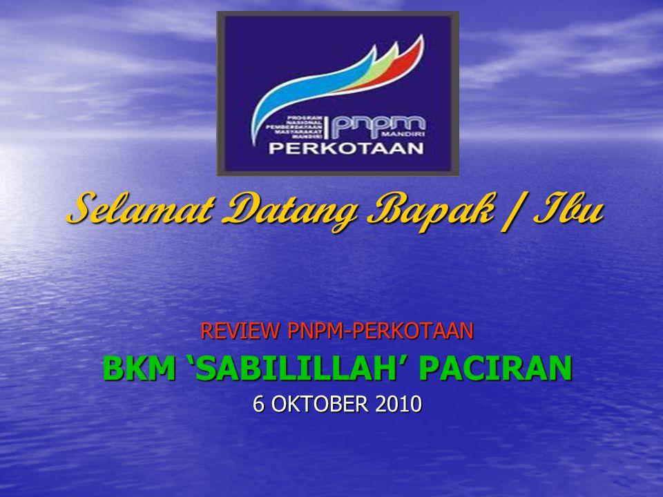 Selamat Datang Bapak / Ibu REVIEW PNPM-PERKOTAAN BKM 'SABILILLAH' PACIRAN 6 OKTOBER 2010