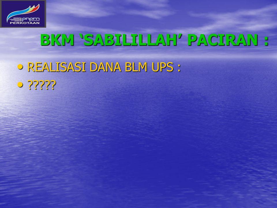 BKM 'SABILILLAH' PACIRAN : REALISASI DANA BLM UPS : REALISASI DANA BLM UPS : ????? ?????