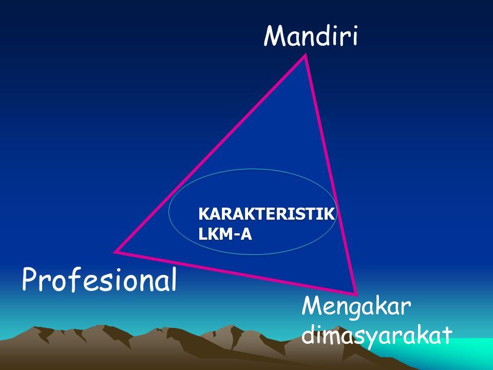 Mandiri Profesional KARAKTERISTIK LKM-A KARAKTERISTIK LKM-A Mengakar dimasyarakat