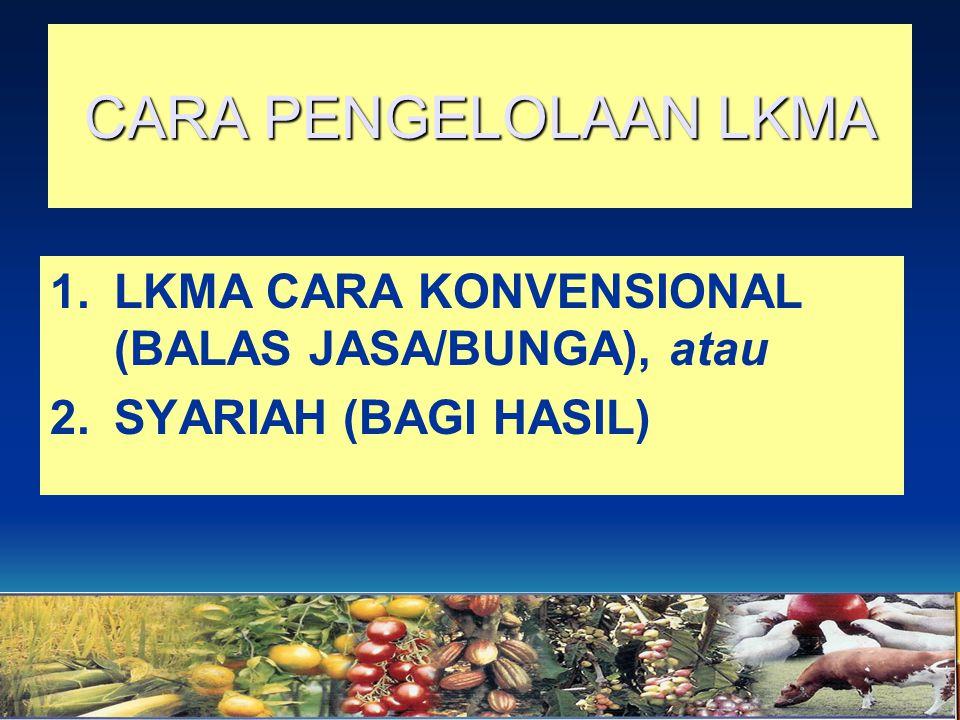 CARA PENGELOLAAN LKMA 1.LKMA CARA KONVENSIONAL (BALAS JASA/BUNGA), atau 2.SYARIAH (BAGI HASIL)