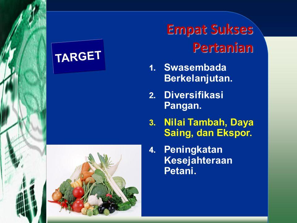 Empat Sukses Pertanian 1. Swasembada Berkelanjutan. 2. Diversifikasi Pangan. 3. Nilai Tambah, Daya Saing, dan Ekspor. 4. Peningkatan Kesejahteraan Pet