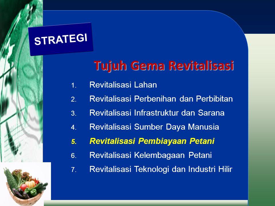 Tujuh Gema Revitalisasi 1. Revitalisasi Lahan 2. Revitalisasi Perbenihan dan Perbibitan 3. Revitalisasi Infrastruktur dan Sarana 4. Revitalisasi Sumbe