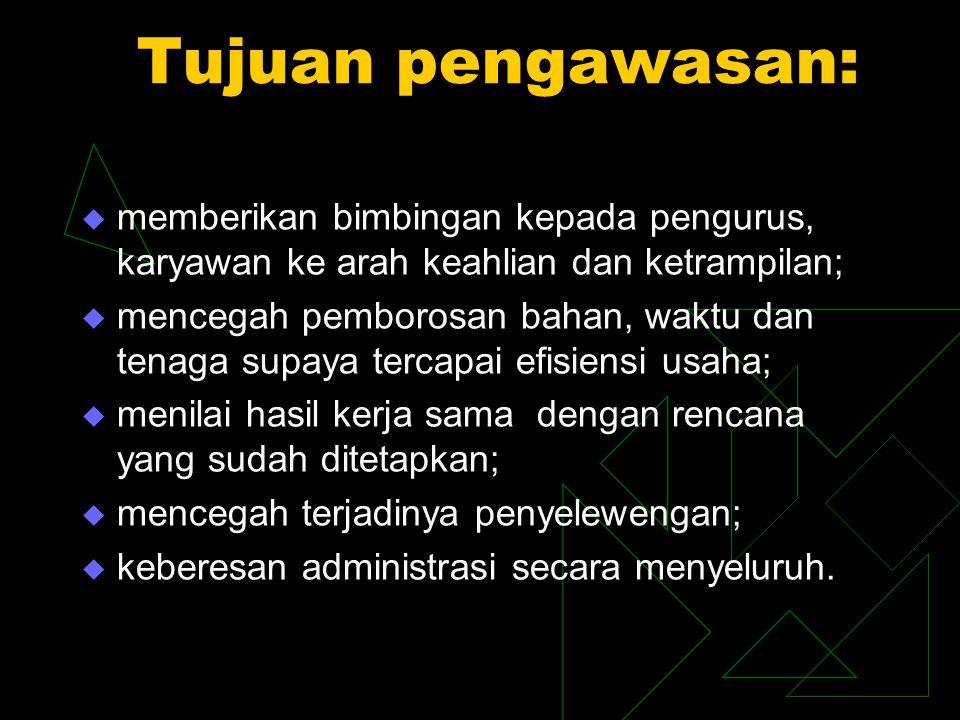 Pengawas Tugas pengawas (pasal 39 UU No. 25/1992):  melakukan pengawasan terhadap pelaksanaan kebijaksanaan dan pengelolaan koperasi;  membuat lapor