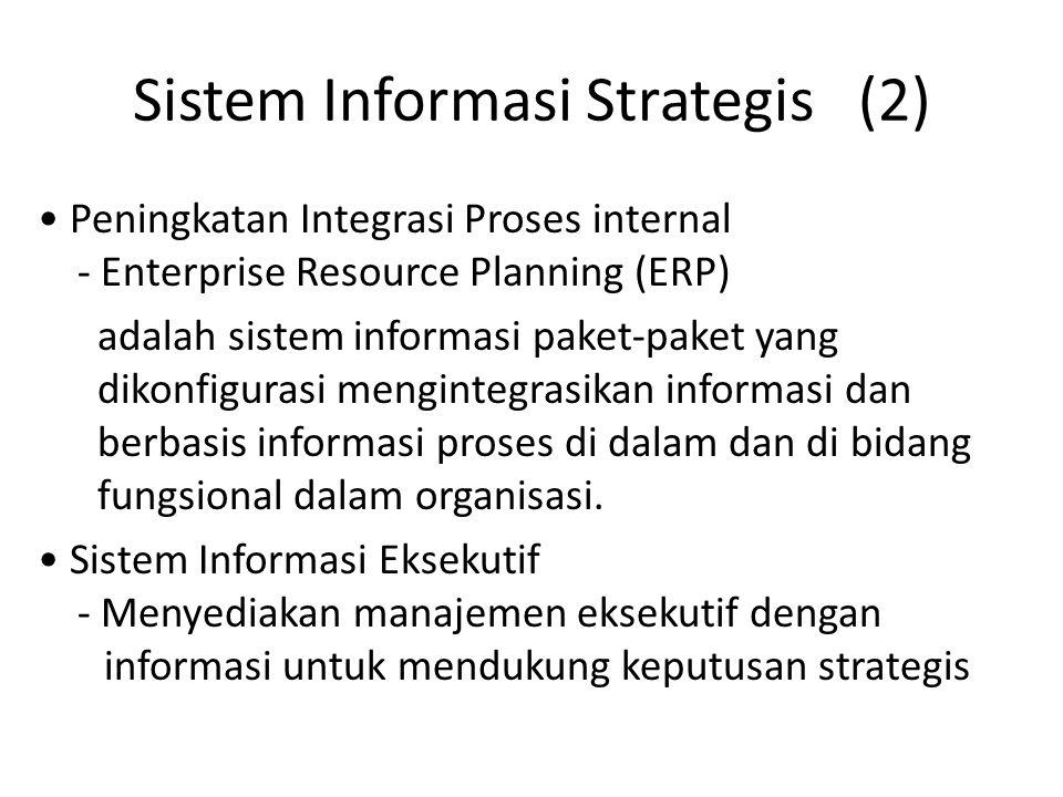 Sistem Informasi Strategis (2) Peningkatan Integrasi Proses internal - Enterprise Resource Planning (ERP) adalah sistem informasi paket-paket yang dik