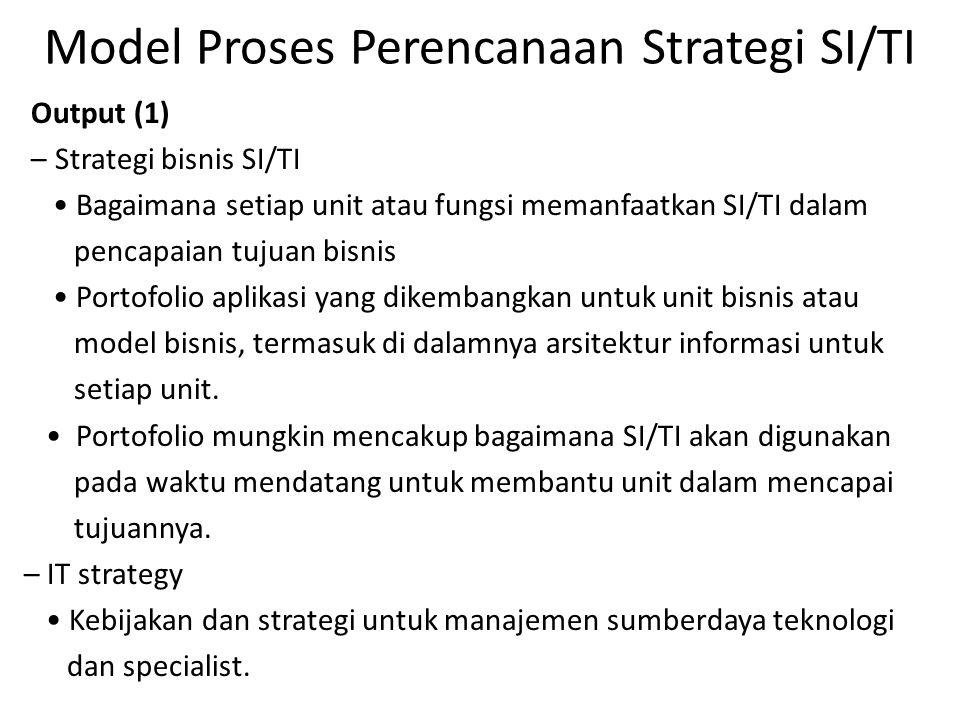 Model Proses Perencanaan Strategi SI/TI Output (1) – Strategi bisnis SI/TI Bagaimana setiap unit atau fungsi memanfaatkan SI/TI dalam pencapaian tujua