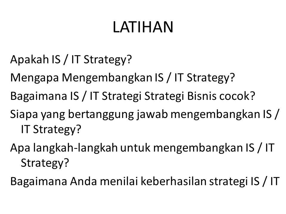 LATIHAN Apakah IS / IT Strategy? Mengapa Mengembangkan IS / IT Strategy? Bagaimana IS / IT Strategi Strategi Bisnis cocok? Siapa yang bertanggung jawa