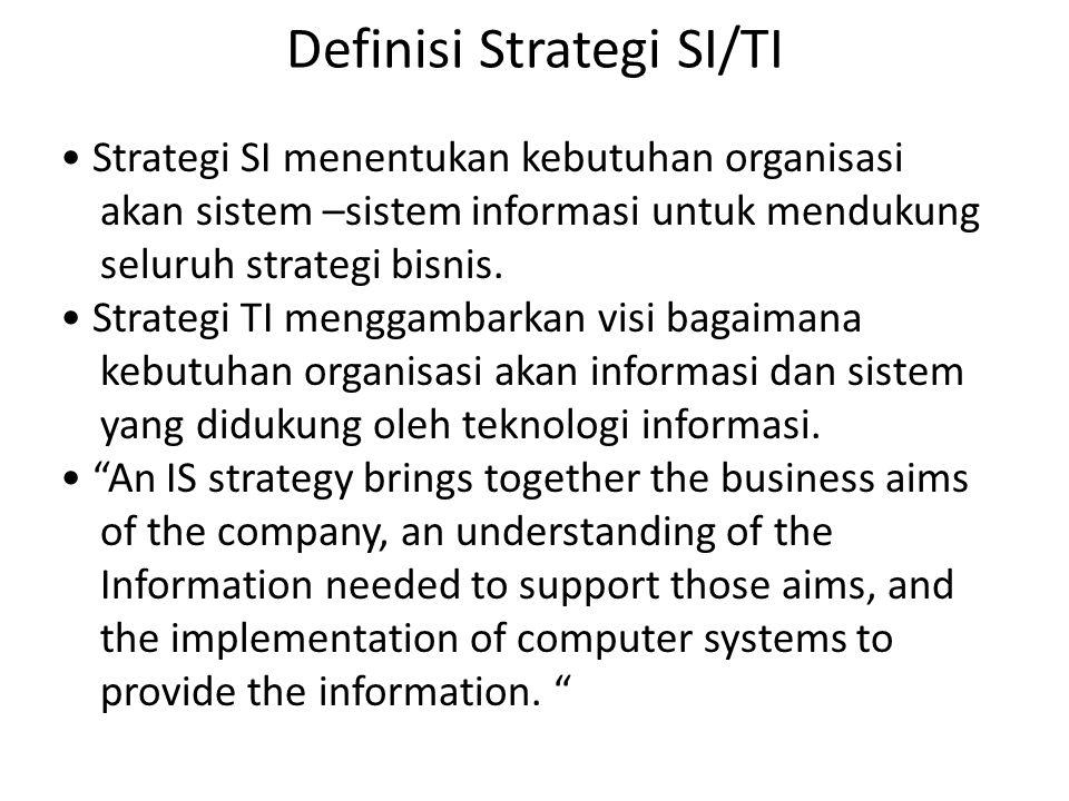 Definisi Strategi SI/TI Strategi SI menentukan kebutuhan organisasi akan sistem –sistem informasi untuk mendukung seluruh strategi bisnis. Strategi TI