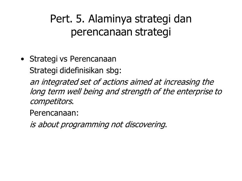 Pert. 5. Alaminya strategi dan perencanaan strategi Strategi vs Perencanaan Strategi didefinisikan sbg: an integrated set of actions aimed at increasi