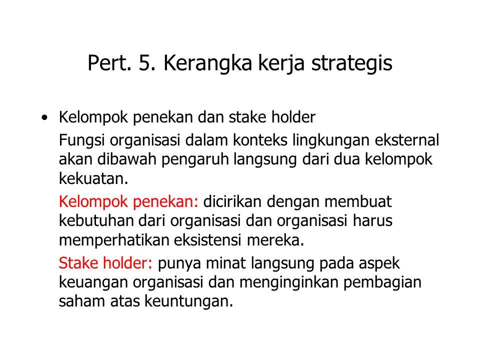 Pert. 5. Kerangka kerja strategis Kelompok penekan dan stake holder Fungsi organisasi dalam konteks lingkungan eksternal akan dibawah pengaruh langsun