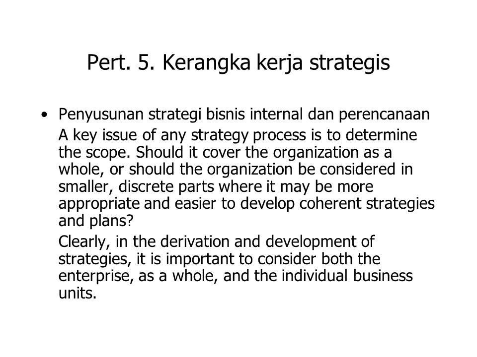 Pert. 5. Kerangka kerja strategis Penyusunan strategi bisnis internal dan perencanaan A key issue of any strategy process is to determine the scope. S