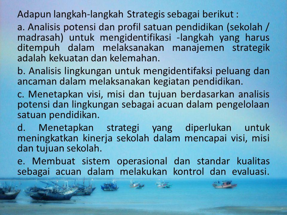 Adapun langkah-langkah Strategis sebagai berikut : a. Analisis potensi dan profil satuan pendidikan (sekolah / madrasah) untuk mengidentifikasi -langk