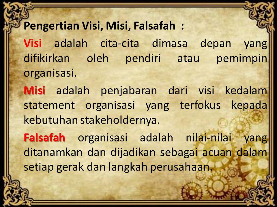 Pengertian Visi, Misi, Falsafah : Visi adalah cita-cita dimasa depan yang difikirkan oleh pendiri atau pemimpin organisasi. Misi Misi adalah penjabara