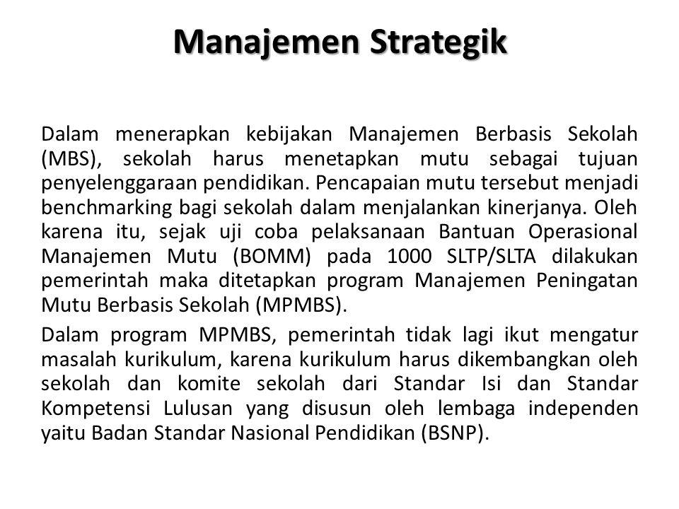 Manajemen Strategik Dalam menerapkan kebijakan Manajemen Berbasis Sekolah (MBS), sekolah harus menetapkan mutu sebagai tujuan penyelenggaraan pendidikan.