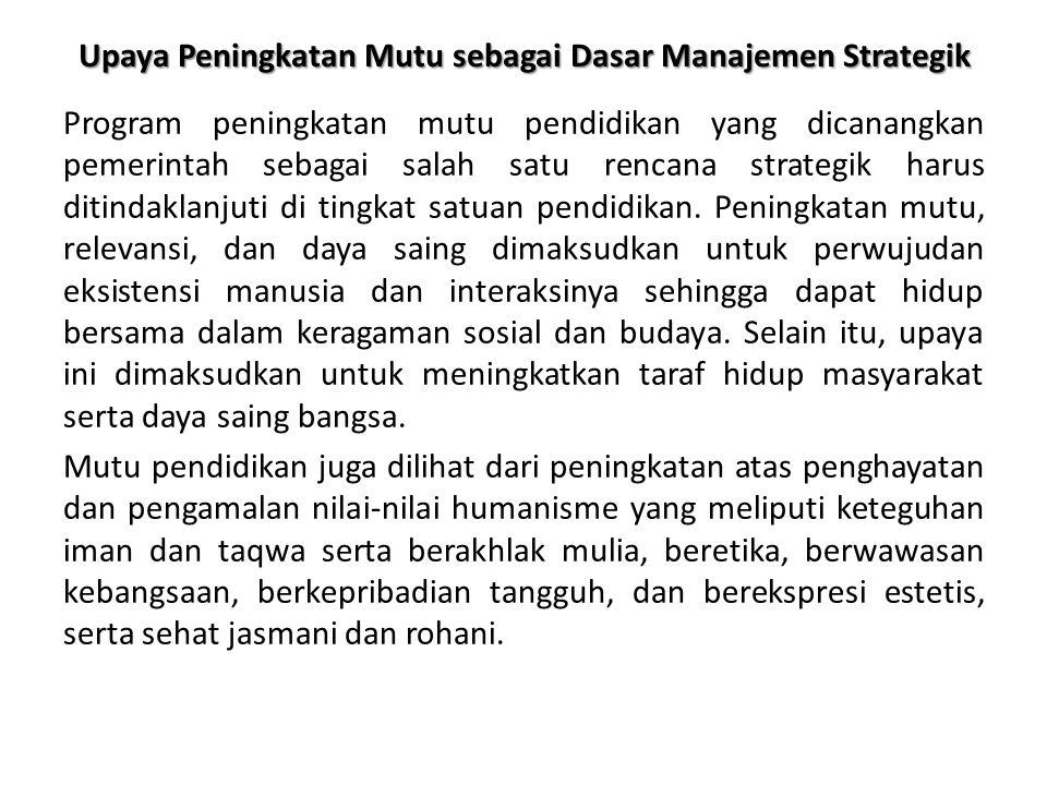 Upaya Peningkatan Mutu sebagai Dasar Manajemen Strategik Program peningkatan mutu pendidikan yang dicanangkan pemerintah sebagai salah satu rencana strategik harus ditindaklanjuti di tingkat satuan pendidikan.