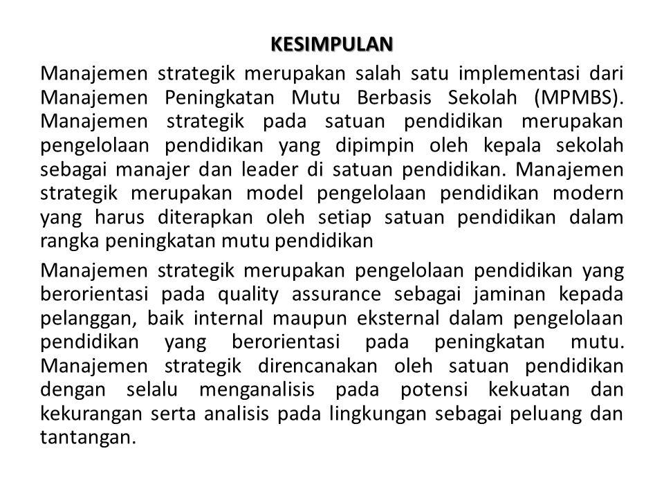 KESIMPULAN Manajemen strategik merupakan salah satu implementasi dari Manajemen Peningkatan Mutu Berbasis Sekolah (MPMBS). Manajemen strategik pada sa