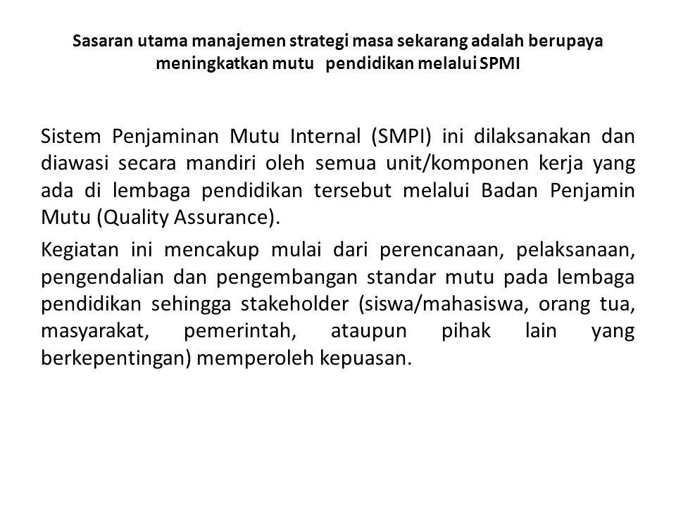 Sasaran utama manajemen strategi masa sekarang adalah berupaya meningkatkan mutu pendidikan melalui SPMI Sistem Penjaminan Mutu Internal (SMPI) ini di