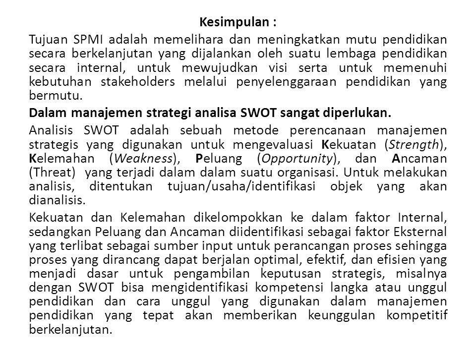 Kesimpulan : Tujuan SPMI adalah memelihara dan meningkatkan mutu pendidikan secara berkelanjutan yang dijalankan oleh suatu lembaga pendidikan secara