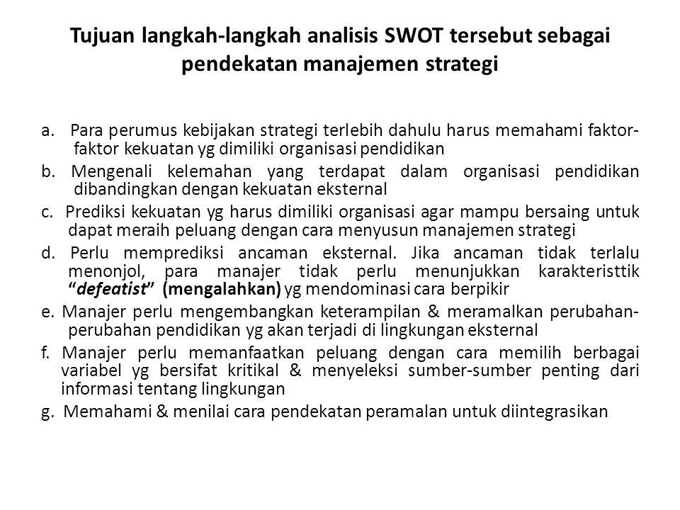 Tujuan langkah-langkah analisis SWOT tersebut sebagai pendekatan manajemen strategi a. Para perumus kebijakan strategi terlebih dahulu harus memahami