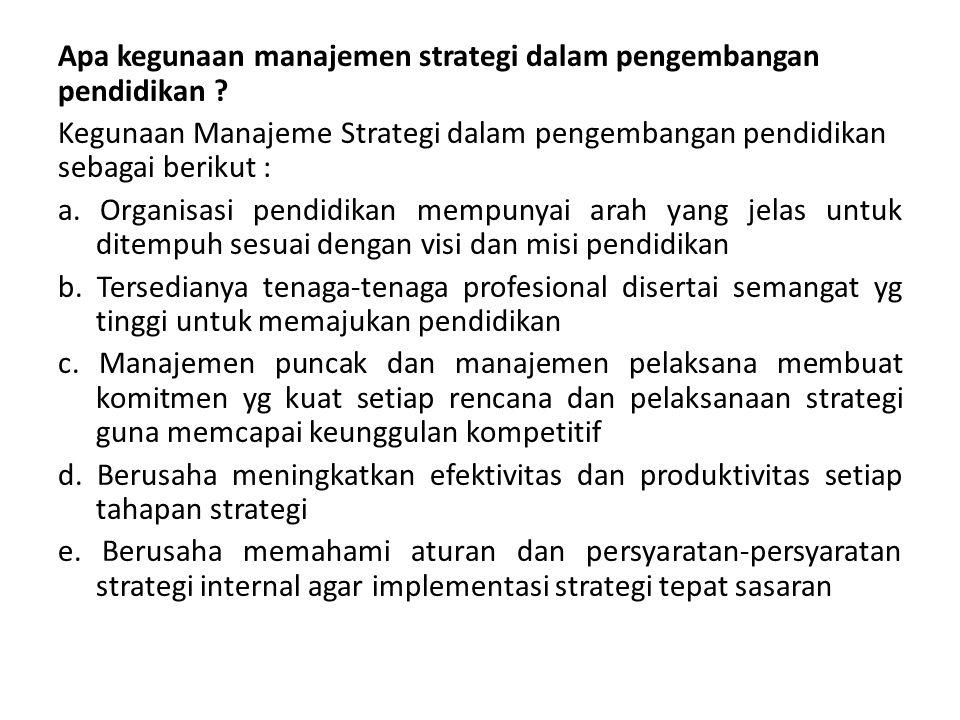Apa kegunaan manajemen strategi dalam pengembangan pendidikan ? Kegunaan Manajeme Strategi dalam pengembangan pendidikan sebagai berikut : a. Organisa