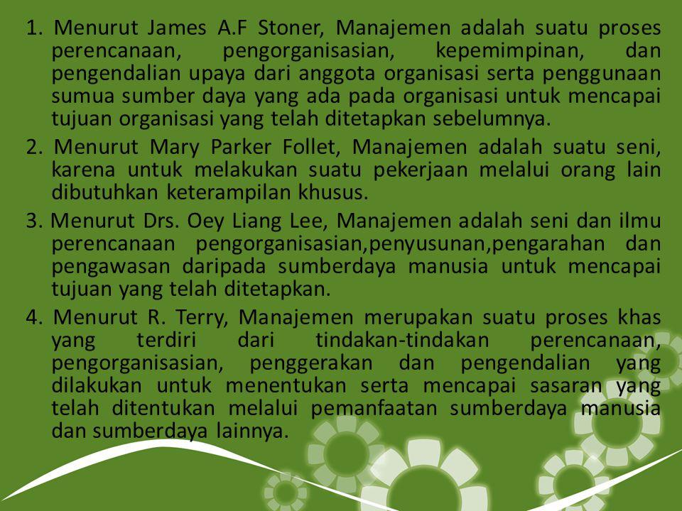 1. Menurut James A.F Stoner, Manajemen adalah suatu proses perencanaan, pengorganisasian, kepemimpinan, dan pengendalian upaya dari anggota organisasi
