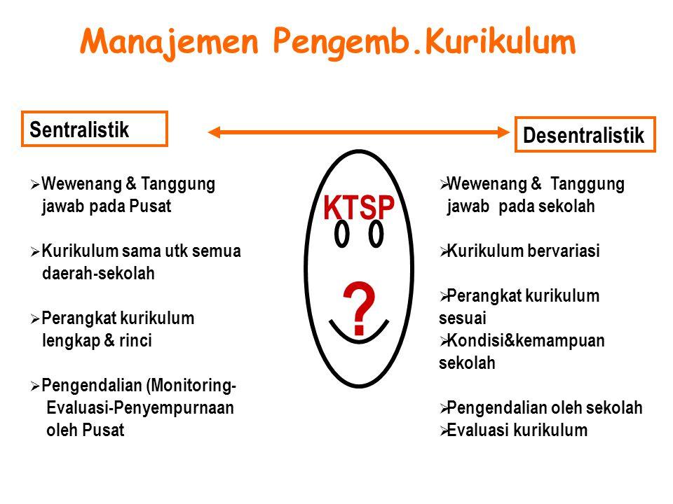 Manajemen Pengemb.Kurikulum Sentralistik Desentralistik  Wewenang & Tanggung jawab pada Pusat  Kurikulum sama utk semua daerah-sekolah  Perangkat k